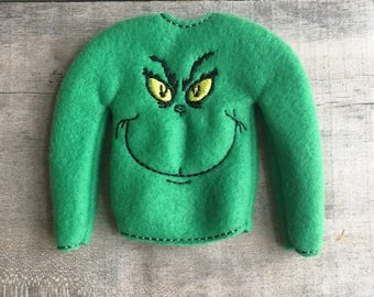 """Elf sweater/holiday elf clothes/12"""" doll sweater/doll clothing/elf sweatshirt/elf clothing/elf costume/green monster/mean"""