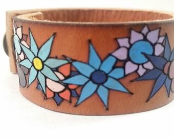 Leather Flower Cuff bracelet