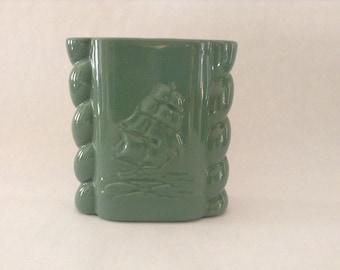 Vintage Abingdon Green Ship/Sailboat Motif Vase