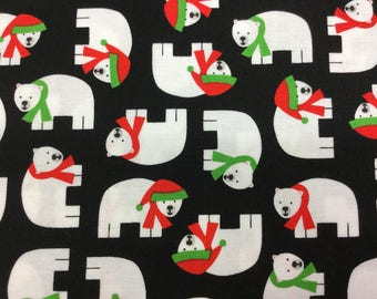 Fabric - Kauffman- Polar Pals - Polar Bears - Black