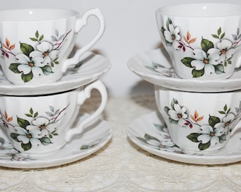 Myott Fine Ironstone Set of 4 Teacups & Saucers or Coffee Cups and Saucers, Large Dogwoods Decorate these Fine Pieces