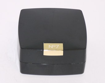 Vintage Boots No 7 Translucent Face Powder with sponge, black pot, Cosmetics