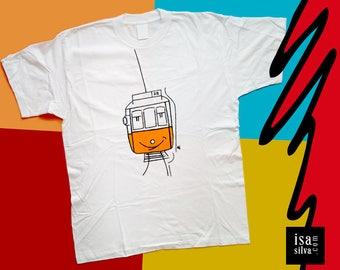 Lisbon Tram ** Handpainted t-shirts, New Collection, Illustration * * Lisbon * tram * hand painted, illustration, Portugal