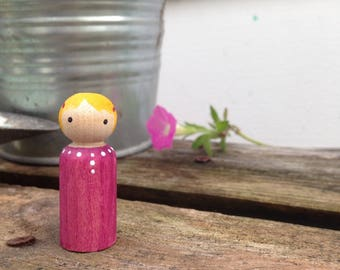 Painted Peg Doll with Pink Clips