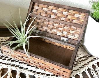 Wicker wood boho vintage box