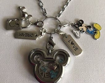 Mickey Mouse Inspired Silver Stainless Steel Crystal Glass Memory Locket