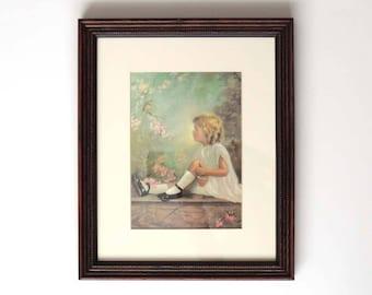 Vintage 1930s Framed Art Print of Girl Looking at Bird