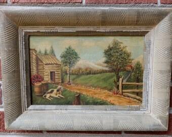 Vintage FOLK ART Primitive DOG Log Cabin Country Landscape Oil Painting Framed c1930-40s