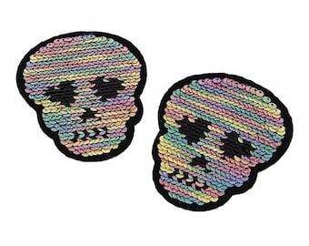 Pastell-Farben Pailletten Schädel Kopf Herz Augen Eisen auf Patch Applikation PC041118
