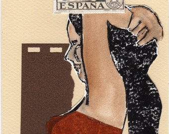 Espana - Paper Collage Note Card