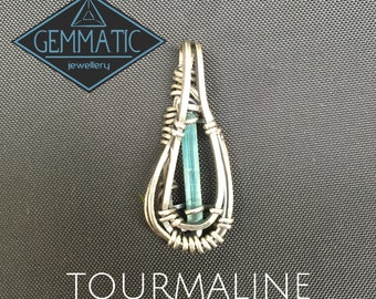 Blue Tourmaline sterling silver pendant