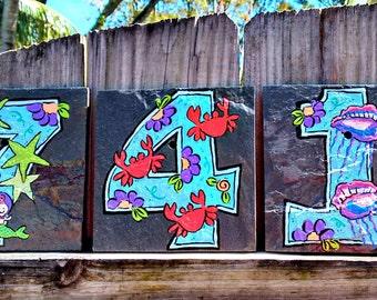 House Numbers Address Tiles BEACH SLATE 6 x 6 tiles