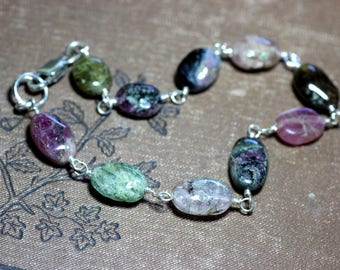 Tourmaline Bracelet Pink and Green Gemstone Wire Wrapped Bracelet Sterling Silver Luxe Rustic Jewelry
