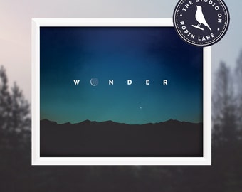 Wonder - Typographic, Outdoors, Nature, Giclee Print, Decor & Housewares Wall decor