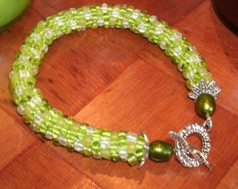 Spring Green Multi Color Hand Bead Crochet Bracelet with Freshwater Pearls