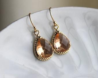 Blush Champagne Teardrop Earrings Peach Gold Earrings Glass - Bridesmaid Earrings Blush Wedding Earrings Champagne Bridesmaid Jewelry