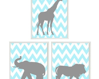 Nursery Art, Baby Boy Nursery, Elephant Giraffe Lion, Aqua Gray Decor, Chevron Print, Safari Wall Art, Boy Room Decor, Modern Nursery, Boy
