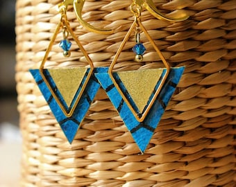 Designer jewelry - gold earrings, paper Scandinavian blue and black, gold and gold tone diamond pattern