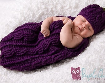 Eggplant Cocoon and Beanie Worsted Weight Version PDF Crochet Pattern 323