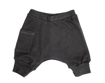 Baby Boy Clothes - Baby Clothes, Organic Baby Clothes, Baby Shorts, Baby Boy Shorts, Baby Harem Shorts -Coal Gray