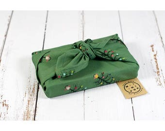 Furoshiki GOTS organic cotton green Christmas trees, wrapping zero waste, durable, eco-friendly, reusable, 50 x 50 cm.