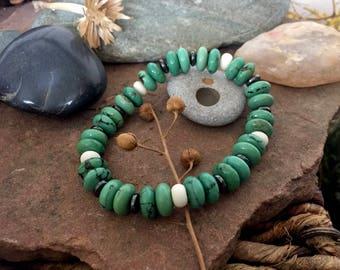 turquoise and hematite stretch bracelet