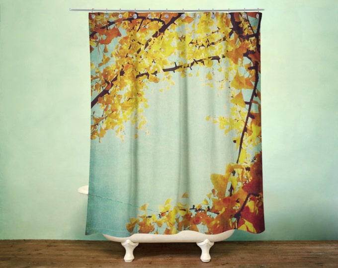Botanical Shower Curtain, Ginko Branches Decor, Pretty Home Decor, Maidenhair, Amber and Teal Decor, Master Bath Decor, Autumn Decor