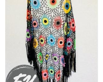 Colorful Crochet Shawl   Boho Gypsy Shawl   Hippie Patchwork   All Season Fashion   Handmade  %100 cotton-merserized