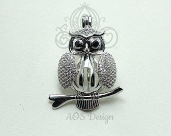 Owl Pick A Pearl 925 Cage Silver Necklace Pendant Crystal Accent Bird Wizard Pet