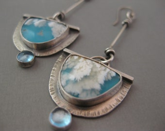 Long Regency Plume Agate and Turquoise Doublet Sterling Silver Earrings with Blue Topaz