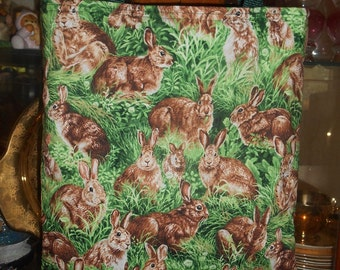 Bunny Rabbit Tote Bag Hare Wildlife Fun Lunch or Book Bag Great Gift Handmade Purse