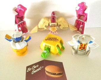 """MacDonaldsToys """"ConvertableToysMcDonalds/GuestCard"""" SET-OF-6, KidsRollPlay, PrizeToys, NostalgiaToys, HappyMealToys,CollectibleMacDonalds"""