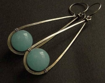 Silver 925/1000 amazonite bead and oxidized