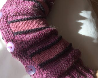 Pink Striped Arm Warmers