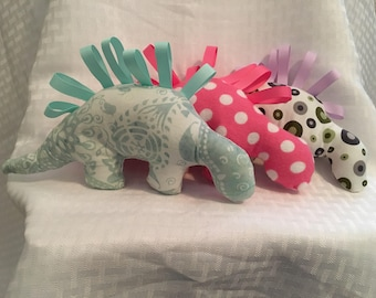 Dinosaur plushie, stegosaurus toy, stuffed animal, baby toy