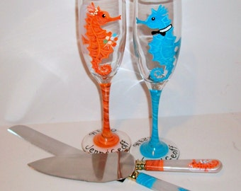 Sea Horses 4 Piece Wedding Set Cake Knife and Server Set With Two 6 oz. Hand Painted Toasting Flutes Aqua Blue & Coral Beach Wedding