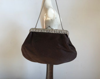 Antique Brown evening bag, fashion years 1910s, 1920 's, Woman