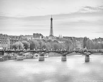 "Black and White Photography - seine river Eiffel Tower paris photography black and white Paris photo travel photography 8x10 ""White Night"""