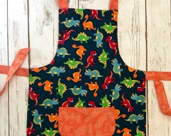 Dino apron, dinosaur apron,boy's apron, girl's apron