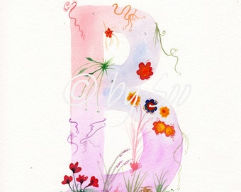 Letter B Watercolour Monogram Print