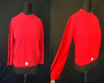 Cherry Red Nylon Vintage 1950's NOS Women's Rockabilly Pinup Sweater Shirt M L 40B