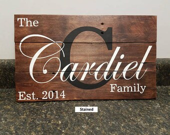Custom Name Sign,Last Name Sign,  Personalized Wood Sign, Wedding Gift Sign, Established Date Family Sign, Anniversary Gift, Rustic