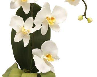 White, Phalaenopsis, Orchid, Silk Orchid Arrangement, Silk Flower Arrangement, Artificial Flower Arrangement, Faux Arrangement, Handmade