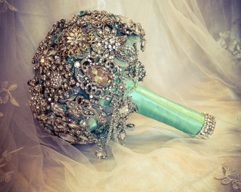 Teal Aqua Mint Blue Silver Brooch Bouquet. FULL PRICE Great Gatsby Diamond Jeweled Crystal Bling broach Bouquet with dangling jewelry.