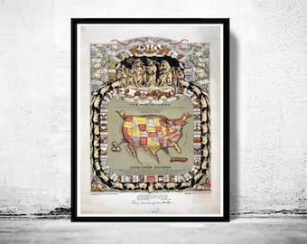 Old Map of United States America 1876 Porciform Vintage pigs representing U.S. States