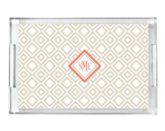 Personalized Lucite Tray, Monogram Acrylic Tray, Serving Tray With Handles, Wedding Gift, Hostess Gift, Housewarming Gift, Diamond Patterned