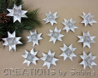 Silver Star Ornaments Set of 12 Satin Ribbon Stars Moravian Advent Christmas Tree Decoration Danish Swedish Ribbon READY TO SHIP (141/143)