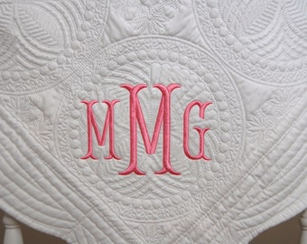 New Baby Gift - Monogram Baby Quilt - Baby Quilt - Baptism Gift -  Monogram or Full Name - 36 x 46 Inches - Nursery Decor