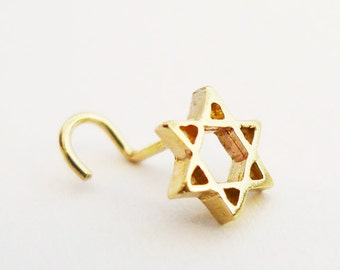 Star of David Nose Stud. 14K Handmade Gold Nose Stud. Recycled Gold. Eco Friendly. Choose Your Thickness. Magen David Nose Stud. Man Jewelry