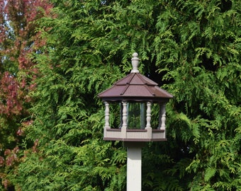 Large Poly Gazebo Bird Feeder Amish Homemade Handcrafted Clay and Brown Spindle  Post mount